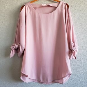 Pleione | Blush Cold Shoulder Bow Tie Blouse EUC